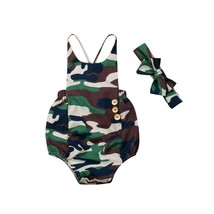 Summer Toddler Baby Girl Casual Camouflage Sling Romper Headband Outfit ... - $8.99
