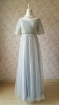 Light Gray Cap Sleeve Sweetheart Off Shoulder Floor Cocktail Dress Wedding Dress image 4
