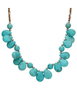 Turquoise Colored Stones Necklace Silver Balls  Free Shipping Fashion Je... - $9.89