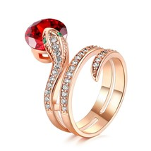 Top Quality R149  Show Bead Ring Rose Gold Color Austrian Orange Crystal... - $19.84