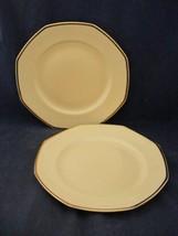 "2 Homer Laughlin Yellow Stone Gold Trim 9"" Dinner Plates Mid-Century - $14.95"