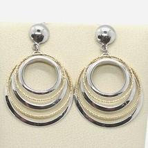 Boucles D'Oreilles or Jaune Blanc 750 18K, Cercles Usinés, Alterné, en I... - $412.79