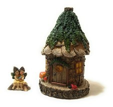 Alpine Cuddle Nest Fairy House with Lara and Lanette Fairy Figurines 8 I... - £24.34 GBP
