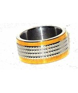 18 k gold and Stainless Steel textured Band Ring size 7  - $24.20