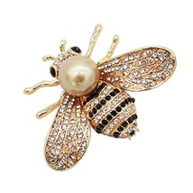 ZUOZUOYA Honey Bee Brooches, Gold Tone and Mother of Pearl Brooch - $10.53