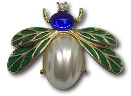 Bee Moth Bug Brooch Pin MFA Crystal Rhinestones Faux Pearl Cabochon Gree... - $39.55