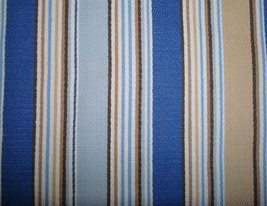 Longaberger Medium Gathering Basket Cabana Blue Stripe Over Edge Liner Only - $16.78