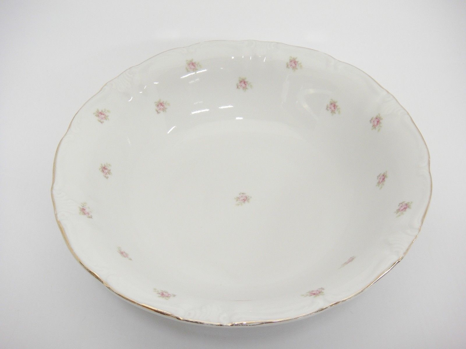 "Vintage Winterling Rosedot 9"" Round Vegetable Serving Bowl Pink Roses Bavaria"