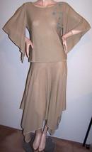 ANGEL II 2-Pc KNIT DRESS Sz S Stone-Beige ASYMMETRICAL Full-Skirt Embell... - $29.99