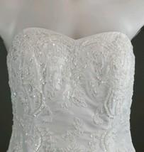 Davids Bridal Wedding Dress T9252 White & gloves sz 8 strapless ruching ... - $247.50