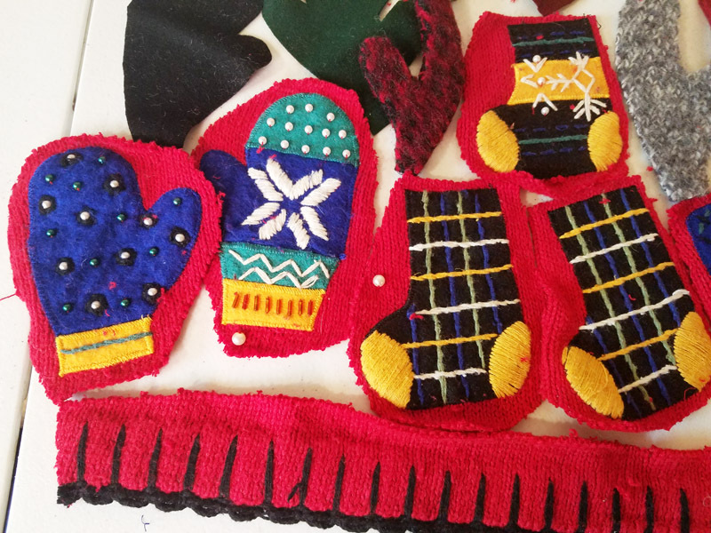 15 christmas stocking deer antlers mittens fabric scrap crafts ornaments beaded