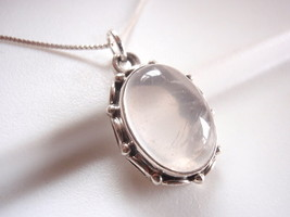 Rose Quartz with Rope Style Accents 925 Sterling Silver Pendant h121yw - $21.77