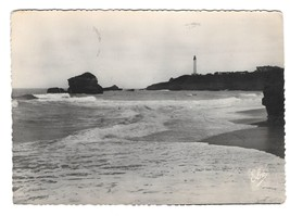 France Biarritz Lighthouse Grande Plage Beach Elce Glossy Photo Postcard... - $4.99