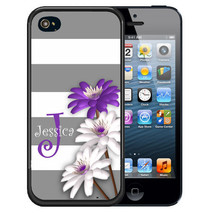 PERSONALIZED RUBBER CASE FOR iPHONE 5S 5C SE 6 6S 7 PLUS GRAY STRIPES FL... - $12.98