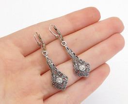 925 Sterling Silver - Vintage Petite Topaz Swirl Detail Dangle Earrings ... - $25.30
