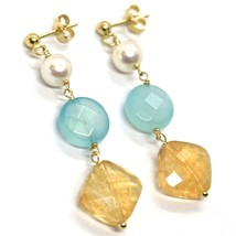 Drop Earrings Yellow Gold, 18K 750, Pearls, Citrine Square, Jade Blue Disco image 2