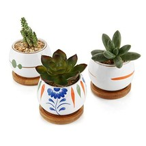 T4U 2.75'' Ceramic Succulent Planters with Tray - Set of 3, Small Succul... - $21.02 CAD