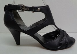Nine West Size 6 M LESTYLE Black Leather Heels Sandals New Womens Shoes - $98.01