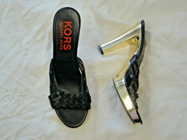 Michael Kors black leather sandal with gold heel   Size 6 1/2 - $49.99