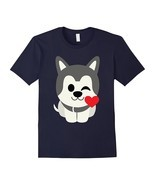 Siberian Husky Dog Emoji Flirt & Blow Kiss Shirt T-Shirt Tee Men - $23.02 CAD+