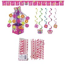 Butterfly Sparkle Birthday Party Supplies Pack: Straws, Party Banner, Di... - $18.37