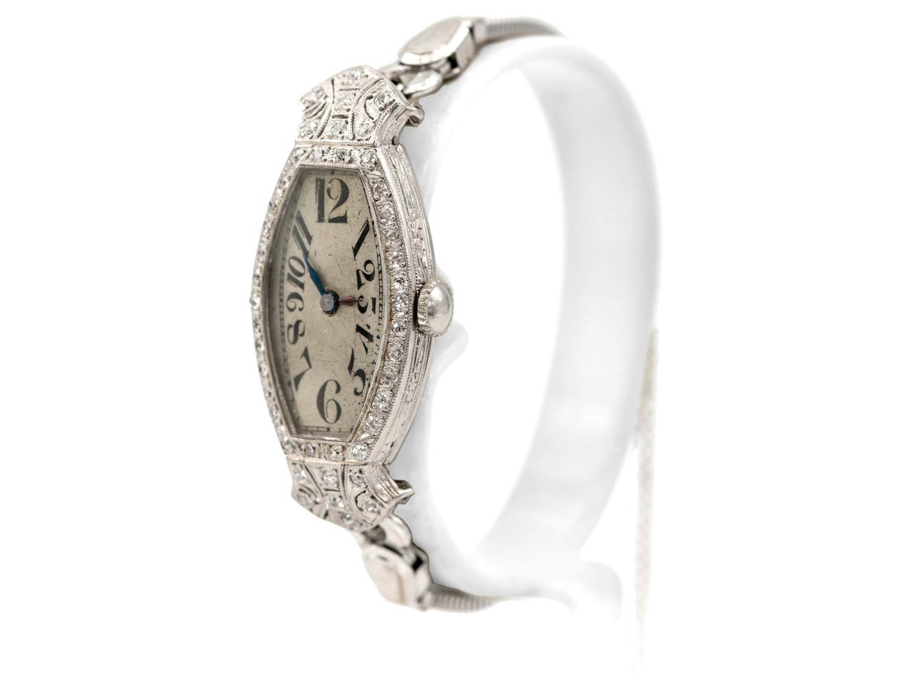 Art Deco Platinum & Diamond Watch by Bulova