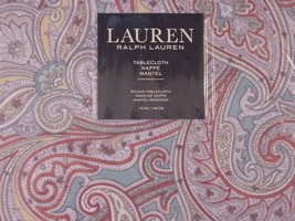 "Ralph Lauren Almada Paisley Teal Indoor/Outdoor Tablecloth 102"" Oblong - $35.00"