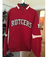 NEW Majestic Red White Rutgers Scarlet Knights Full Zip Embroidered Jack... - $54.95