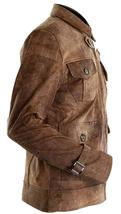 Mens Expendables 2 Jason Statham Lee Christmas Distressed Brown Leather Jacket image 2