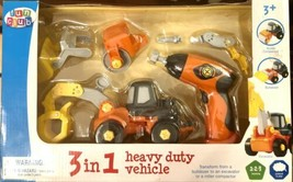 Heavy Duty Construction 3 in 1 Play Set Toy,Roller Compactor,Bulldozer,E... - $14.80