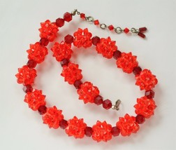 Vintage Austria faceted glass crystal bead choker necklace red/coral ela... - $27.71