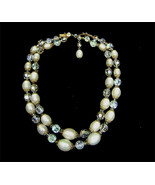 Vintage Marvella AB Crystal White Lucite Bead 2 Strand Necklace Signed - $38.00