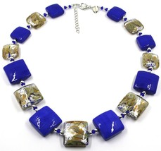 """NECKLACE WITH BLUE MURANO SQUARE GLASS & SILVER LEAF, MADE IN ITALY, 50cm, 20"""" image 1"""