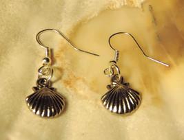 Dainty Scallop Shell Dangle Earrings tibetan silver - $4.50
