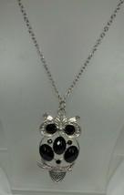 Vintage Silver Tone & Black Owl Pendant - $7.91