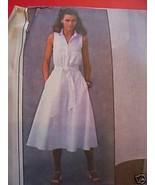 White Linen Sleeveless Summer Dress Pattern- B 34-36-38 - $3.99