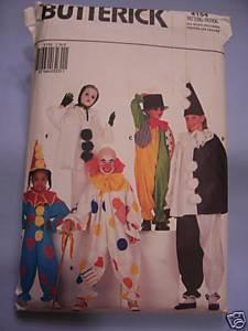 Child's Mardi Gras Clown Costume Pattern- S, M, L, XL Butterick