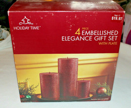 NEW 4 Piece Christmas Embellished Elegance Pillar Candle Gift Set & Foil... - $19.79