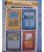 Simplicity Curtain Pattern - 3 Styles - $3.75
