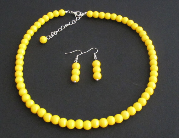 Yellow pearl necklace yellow bead necklace,Wedding Necklace jewelry,bridesmaid