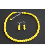 Yellow pearl necklace yellow bead necklace,Wedd... - $14.40