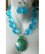 Vintage Heavy Blue Multi-Faceted Glass Foiled Pendant Necklace & Earring... - $74.25