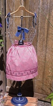 Vintage Handmade Red Gingham Half Apron with Blue Cross Stitch Details - $8.98