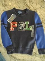NWT Boys retro POLO RALPH 67 LAUREN size 6 pullover sweater football $89... - $39.97
