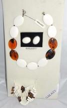 VTG GALAXY Cream & Faux Tortoise Shell Lucite Necklace Bracelet Earring ... - $74.25
