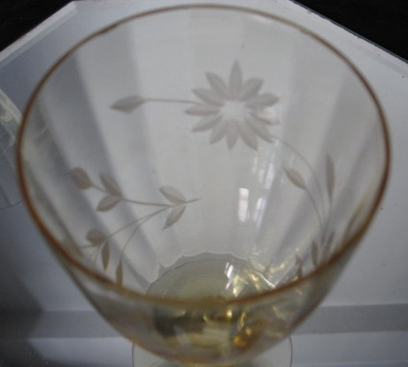Antique Etched Glass Water Goblets