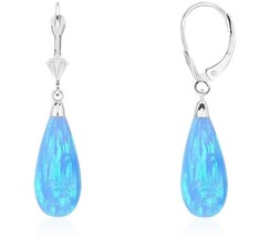 14K White Gold Tear Drop Shaped Light Blue Fire Opal Lever back Dangle Earrings - $105.91
