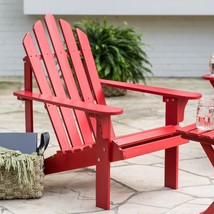Country Cottage Red Wood Adirondack Chair Comfort Back Outdoor Patio Fur... - $138.10