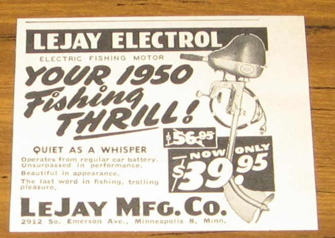1950 AD~LEJAY ELECTROL ELECTRIC FISHING MOTORS~TROLLING