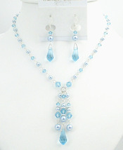 Prom Jewelry Very Beautiful Blue Pearls & Aquamarine Crystals Jewelry - $49.13